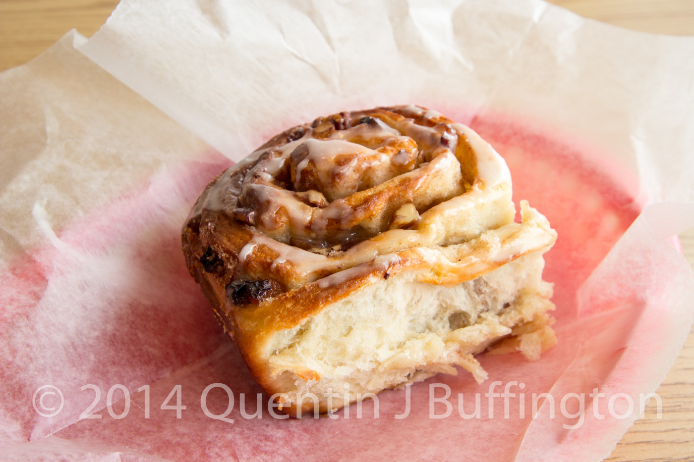 A piping hot fresh Bacon Cinnamon Roll fresh from the ovens at Mareta Deli in LaSalle Illinois.