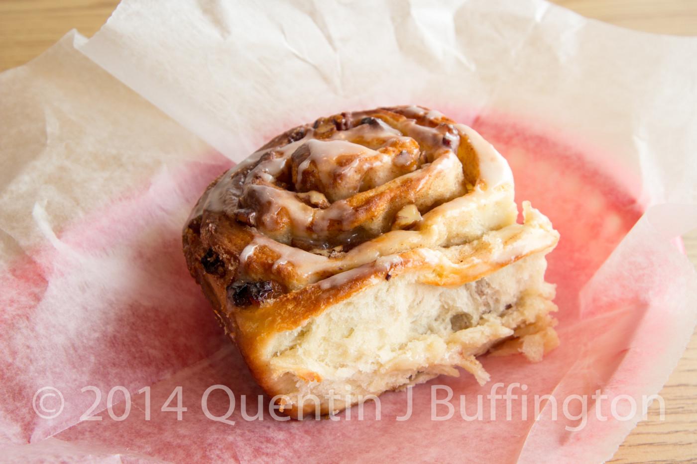 A piping hot fresh Bacon Cinnamon Roll fresh from the ovens at Mareta Deli in LaSalle Illinois.